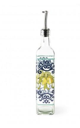 Oliera in Vetro con beccuccio dosatore decorazione limoni Amalfi