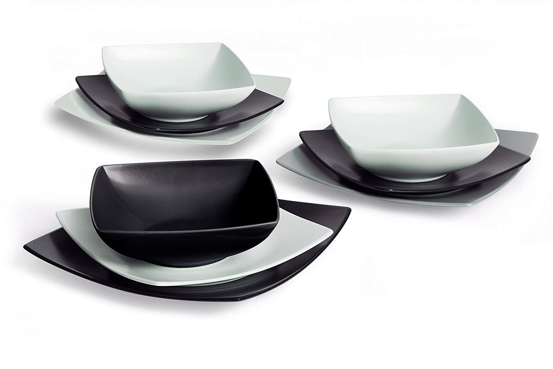 Bianco e Nero Excelsa Etnik Servizio Piatti 18 Pezzi Ceramica